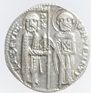 obverse: Zecche Italiane.Venezia. Iacopo Tiepolo (1275-1280) Grosso. D/ Il Doge e San Marco. R/ Redentore in trono. Paolucci 1. Biaggi 2783. AG, 2.20 gr. BB+