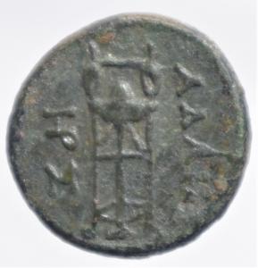 reverse: Mondo Greco.Re di Macedonia. Adaeus 245-240 a.C. AE D\ testa laureata di Apollo a destra R/ AAIOY, Tripode . Lindgren II 1336.Peso 8,80 gr.Diametro 23,00 mm.BB+.RR