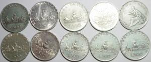 obverse: Repubblica Italiana.Lotto di 10 monete da 500 lire in Argento, manca il 1966,in buona conservazione, Patina da collezione