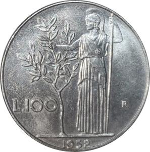obverse: Repubblica Italiana. 100 Lire 1958 FDC. Periziata Esposito. rf