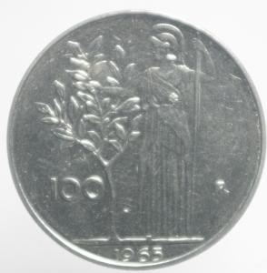 obverse: Repubblica Italiana. 100 Lire 1965. qFDC