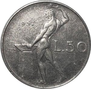obverse: Repubblica Italiana. 50 lire 1957. FDC. Periziata Esposito con la nota segni di contatto. rf