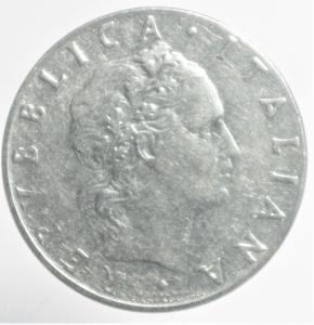 obverse: Repubblica Italiana. 50 Lire Vulcano 1965,senza 1 nella data.BB.RR