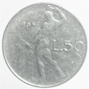 reverse: Repubblica Italiana. 50 Lire Vulcano 1965,senza 1 nella data.BB.RR