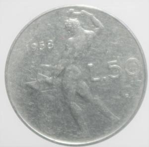obverse: Repubblica Italiana. 50 Lire 1958. Gigante 147. qBB. R.