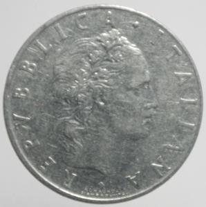 reverse: Repubblica Italiana. 50 Lire 1958. Gigante 147. qBB. R.