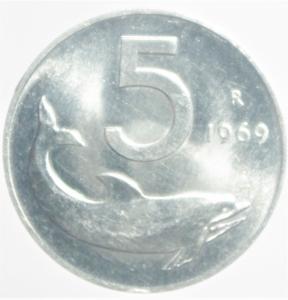 obverse: Repubblica Italiana. 5 Lire 1969 .qSPL.NC