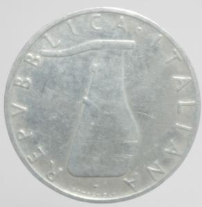 reverse: Repubblica Italiana. 5 Lire 1956. Buon qBB. RR