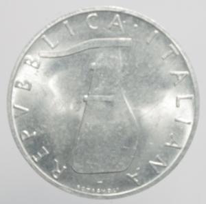 reverse: Repubblica Italiana. 5 Lire 1969. 1 capovolto qFDC. RR