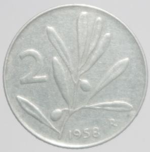 obverse: Repubblica Italiana. 2 Lire 1958.BB\BB+.RR