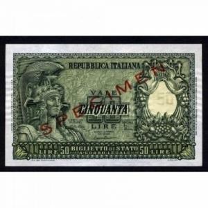 obverse: Cartamoneta - 50 LIRE ITALIA ELMATA 31.12.1951 SPECIMEN FDS