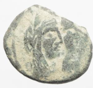 obverse: Mondo Greco. Nabatea. Aretas IV AE 19mm, Petra 9 a.C - 40 d.C. D/ Busti affiancati di Aretas e Shuqailat verso destra . R/ due cornucopiae. Meshorer (Nabatean Coins) 114. SNG ANS 1438-1443. AE. g. 4,15 mm. 19.00 .BB+.Bellissima patina deserto