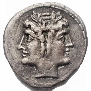 obverse: Repubblica Romana -Didracma o quadrigato, ca.225-214 a.C.D/ Testa laureata di Giano.R/ Jupiter su quadriga guidata da Vittoria a destra. Sotto, ROMA.Cr. 30/1.AG.g 5,10.mm 19,07 x 19,41.BB+/BB