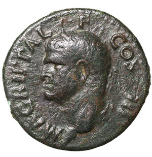 obverse: Agrippa. died 12 BC. AE As. 9.78 gr. - 27.8 mm. Rome, AD 37-41. O:\ AGRIPPA L F COS IIIM; Head left in rostral crown. R:\ Neptune standing left, holding dolphin and trident; S-C. RIC 58. Dark-green patina. VF+. RARE