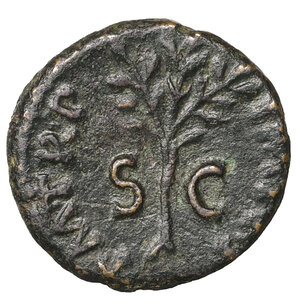 reverse: Nero. 54-68 AD. Brass Quadrans. 64 AD. 2.71 gr. – 16.0 mm. O:\ NERO CLAV CAE AVG GER, owl, wings spread, standing facing on garlanded, rectangular altar. R:\ P M TR P IMP P P S-C, upright olive-branch. RIC 260; Sear 1988; MacDowall WCN 354; Cohen 185. Rare. aXF