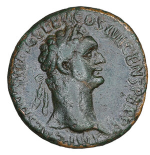 obverse: Domitian (81-96), As, Rome, AD 95-96. AE 10.20 gr. – 26.7 mm. O:\ IMP CAES DOMIT AVG GERM COS XVII CENS PER P P, laureate head r. R:\ VIRTVTI - AVGVSTI, Virtus standing r., foot on helmet, holding spear and parazonium in field, S - C. RIC I 424A = II 810 C 660. aXF