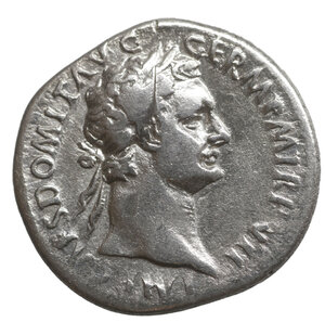 obverse: Domitian, 81-96. Denarius. 3.20 gr. – 19.2 mm. Rome, 88. O:\ IMP CAES DOMIT AVG GERM P M TR P VII Laureate head of Domitian to right. R:\ IMP XIIII COS XIIII CENS P P Minerva standing left on capital of rostral column, hurling spear with her right hand and holding shield in her left; at her feet to right, owl facing. BMC 117. BN 115. Cohen 236. RIC² 576. XF