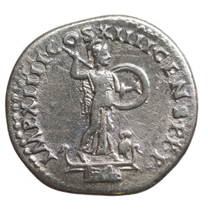 reverse: Domitian, 81-96. Denarius. 3.20 gr. – 19.2 mm. Rome, 88. O:\ IMP CAES DOMIT AVG GERM P M TR P VII Laureate head of Domitian to right. R:\ IMP XIIII COS XIIII CENS P P Minerva standing left on capital of rostral column, hurling spear with her right hand and holding shield in her left; at her feet to right, owl facing. BMC 117. BN 115. Cohen 236. RIC² 576. XF