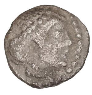 obverse: Sicily. Syracuse. Hieron I. 478-466 BC. Deinomenid Tyranny. Litra. AR 8 mm - 0,59 gr. O:\ Diademed head of Arethusa right. R:\ Four-spoked wheel. Cf. Boehringer 362-373: HGC 2, 1371. XF