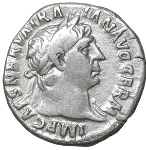 obverse: Trajan Denarius. 102-103 AD. 3.20 gr. – 17.7 mm. O:\ IMP CAES NERVA TRAIAN AVG GERM, laureate head right, slight drapery on left shoulder. R:\ PM TRP COS IIII PP, Victory walking right, holding wreath and palm. RIC 61 var (bust type); RIC 61 var (bust type); RSC 244a; Woytek -. XF