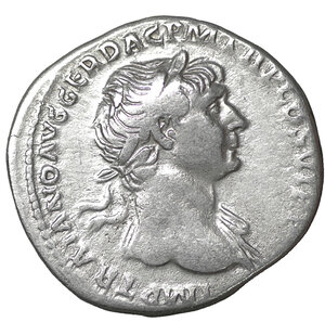 obverse: Trajan. Denarius. 112-114 AD. 3.20 gr. – 18.6 mm. IMP TRAIANO AVG GER DAC PM TRP COS VI P P, laureate draped bust right / SPQR OPTIMO PRINCIPI, Mars walking right, holding spear and trophy. RSC 372a. XF