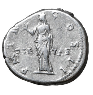 reverse: HADRIAN (117-183). Denarius. Rome. 3.45 gr. – 19.2 mm. O:\ IMP CAESAR TRAIAN HADRIANVS AVG. Laureate bust right, slight drapery on left shoulder. R:\ P M TR P COS II / PIETAS. Pietas veiled standing left raising right hand. RIC 45. UNC
