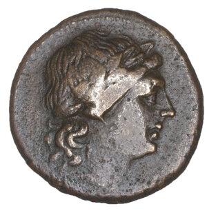 obverse: Sicily. Centuripae (Kentoripai). AE Hemilitron. 22.7 mm, 8.36 gr. after 241 BC. O:\ Laureate head of Apollo right. R:\ Four-stringed Kithara, KENTO-PIΠINΩN around; six dots in fields. SNG ANS 1316; Calciati III, 173, 5. XF+