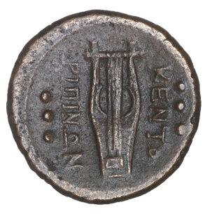 reverse: Sicily. Centuripae (Kentoripai). AE Hemilitron. 22.7 mm, 8.36 gr. after 241 BC. O:\ Laureate head of Apollo right. R:\ Four-stringed Kithara, KENTO-PIΠINΩN around; six dots in fields. SNG ANS 1316; Calciati III, 173, 5. XF+