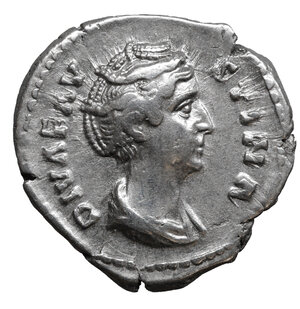 obverse: Diva Faustina I AR Denarius. 3.10 gr. – 18.9 mm. Struck under Antoninus Pius, Rome, after AD 141. O:\ DIVA FAVSTINA, draped bust right. R:\ AVGVSTA, Ceres, veiled, standing right, holding corn ears and torch. RIC 359. XF+