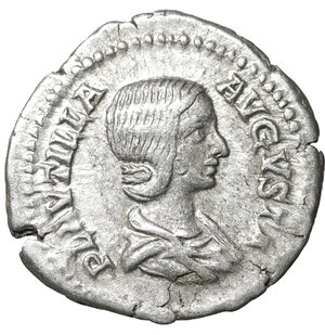obverse: Plautilla. 202-205 AD. Denarius. Rome. 2.80 gr. – 19.5 mm. O:\ PLAVTILLA AVGVSTA. Draped bust right. R:\ VENVS VICTRIX. Venus standing left, holding apple and palm, and leaning upon round shield to right; to left, Cupid standing left, holding helmet. RIC 369. aXF