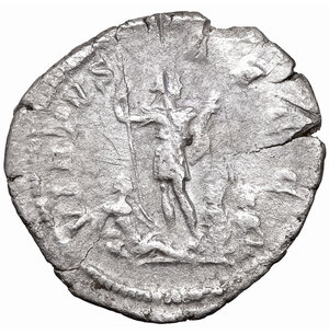 reverse: Caracalla. AR Denarius. 206-210 AD. Rome. 2.45 gr. - 20.00 mm. O:\ ANTONINVS PIVS AVG, laureate head right. R:\ VIRTVS AVGG Emperor standing facing with spear and parazonium, at his feet river god and two captives. RIC 175. VF