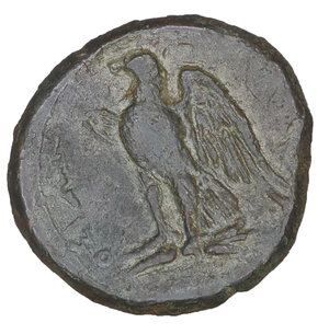 reverse: Sicily. Syracuse. Bronze under tyrant Hiketas II. 288-278 BC. AE 10.13 gr. – 23.7 mm. O:\ Laureate head of Zeus Hellanios l. R:\ [ΣYPAK] - OΣIΩN, eagle standing l. on thunderbolt, with wings displayed. CNS II, 158. Dark Green olive patina. aUNC