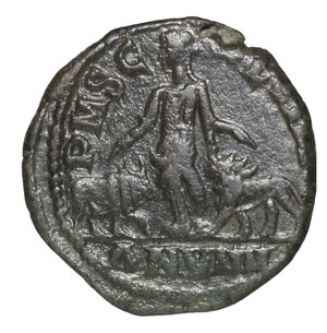 reverse: ROMAN EMPIRE. PHILIP I. 244-249 AD. PROVINCIAL BRONZE MOESIA. AE 17,60 gr. – 28,24 mm. O:\ IMP IVL PHILIPPVS AVG; head to right. R:\ PM SC COL VIM ANN VIIII, Moesia standing left between bull and lion. BMC G.21. VF+