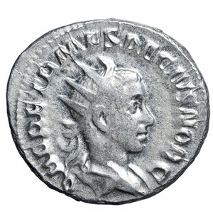 obverse: Herennius Etruscus. 251 AD. AR Antoninianus. 5,1 gr. – 24,4 mm. O:\ Q HER ETR MES DECIVS NOB C, radiate draped bust right. R:\ PRINCIPI IVVENTVTIS, Herennius standing left, holding rod and spear. RIC 147c, RSC 26. RARE. VF+