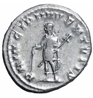 reverse: Herennius Etruscus. 251 AD. AR Antoninianus. 5,1 gr. – 24,4 mm. O:\ Q HER ETR MES DECIVS NOB C, radiate draped bust right. R:\ PRINCIPI IVVENTVTIS, Herennius standing left, holding rod and spear. RIC 147c, RSC 26. RARE. VF+