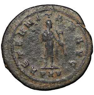 reverse: Gallienus. AD 253-268. Antioch Antoninianus. 3.70 gr. – 22.04 mm. O:\ GALLIENVS AVG, radiate, draped and cuirassed bust right. R:\ AETERNITAS AVG, Saturn with harpa standing right, PXV in exergue. RIC 606; C. 44; MIR 1662i. XF
