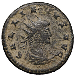 obverse: Gallienus. 253-268 AD. Billon Antoninianus. Mint of Asia. 3.95 gr. – 20.39 mm. O:\ GALLIENVS AVG, radiate, draped bust right. R:\ AETERNITAS AVG, Saturn standing right, holding scythe, PXV (short for TR P XV) in ex. Cohen 44; Sear 10170. XF