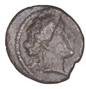 obverse: SICILY, Morgantina. Circa 339-317 BC. Litra. 0.76 gr. – 11 mm. O:\ MOPΓANTINΩN Female head to right. R:\ Horseman prancing left, brandishing spear. Morgantina Studies 12, 4.2. Cf. SNG Copenhagen 472. SNG München 742. Toned. Rare. VF\XF