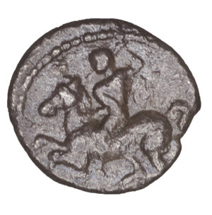 reverse: SICILY, Morgantina. Circa 339-317 BC. Litra. 0.76 gr. – 11 mm. O:\ MOPΓANTINΩN Female head to right. R:\ Horseman prancing left, brandishing spear. Morgantina Studies 12, 4.2. Cf. SNG Copenhagen 472. SNG München 742. Toned. Rare. VF\XF