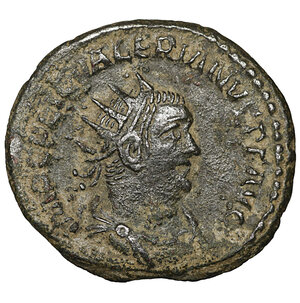 obverse: VALERIAN I. 253-260 AD. Antoninianus. 4.00 gr. – 21.5 mm. Samosata mint. Struck circa 256-260 AD. O:\ IMP C LIC VALERIANVS P F AVG, radiate, draped, and cuirassed bust right / RESTITVT ORI-ENTIS, the Orient, standing right, handing wreath to Valerian, standing left. RIC V 287; MIR 36, 1685e; RSC 189. Scarce. VF+