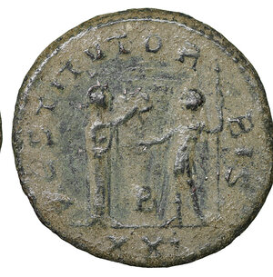reverse: Aurelian. AD 270-275. Cyzicus mint. Æ Antoninianus. 4.05 gr. – 22.6 mm. O:\ IMP C AVRELIANVS AVG, radiate cuirassed or radiate draped bust right. R:\ RESTITVTOR ORBIS, Woman standing right, presenting wreath to Aurelian. Γ in ex. in exergue. RIC 368; Cohen 210; Sear5 11592v. XF