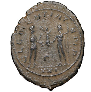 reverse: Probus. 276-282 AD. AE Antoninianus. Antioch mint. 3.50 gr. – 24.43 mm. O:\ IMP C M AVR PROBVS P F AVG, radiate, draped and cuirassed bust right. R:\ CLEMENTIA TEMP, emperor standing right with sceptre, receiving Victory from Jupiter standing left with sceptre, Γ in lower centre, mintmark XXI. Sear 11961. XF