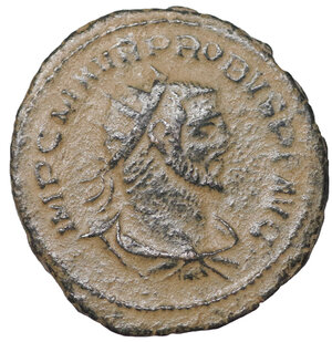 obverse: Probus. 276-282 AD. Antoninianus, Antioch mint. 3.65 gr. – 21.29 mm. O:\ IMP CM AVR PROBVS PF AVG, radiate, draped bust right. R:\ CLEMENTIA TEMP, Emperor standing right, holding sceptre, receiving Victory on globe from Jupiter standing left, holding sceptre. H in lower centre. Mintmark XXI. RIC V-2 Antioch 922; Sear 11961. UNC
