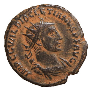 obverse: Diocletianus (284-305 AD). AE Antoninianus. 4.55 gr. – 19.9  mm.  Siscia (Sisak), 293-295. O:\ IMP CC VAL DIOCLETIANVS AVG Radiate, draped and cuirassed bust right, seen from behind. R:\ CONCORDIA MIL-ITVM Diocletian standing right, holding parazonium, and receiving Victory from Jupiter standing left, holding sceptre; in lower centre field, Γ. In exergue, XXI•. Cohen 33. RIC 256. XF+