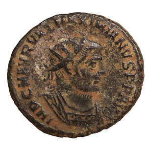 obverse: MAXIMIANUS HERCULIUS (286-305). Antoninianus. Antioch. 4.20 gr. – 20.1 mm. O:\ IMP C M AVR VAL MAXIMIANVS P F AVG. Radiate and cuirassed bust right. R:\ IOV ET HERCV CONSER AVGG / Crescent Δ / XXI. Jupiter standing left, holding sceptre and globe, facing Hercules standing right, holding Victory, club and lion's skin. RIC 622. XF