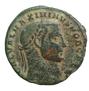 obverse: Maximinus II Daza. As Caesar, A.D. 305-308. AE follis. 5.70 gr. – 23.2 mm. Antioch mint, struck A.D. 308. O:\ GAL VAL MAXIMINVS NOB CAES, laureate head right. R:\ GENIO CAESARIS*, Genius standing left, pouring liquid from patera and holding cornucopia, chlamys over shoulder; crescent over Γ/·ANT in exergue. RIC 94a. VF\XF