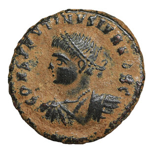 obverse: Constantine II. As Caesar, A.D. 317-337. Æ follis. 3.00 gr. – 17.6 mm. Cyzicus, under Constantine I, A.D. 325/6. CONSTANTINVS IVN NOB C, laureate, draped and cuirassed bust of Constantine II left / PROVIDEN-TIAE CAESS, camp-gate with no doors and two turrets; star above; SMKS·. RIC 37. VF\XF