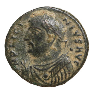 obverse: Licinius I. Cyzicus, 317-320 AD. Æ follis. 3.80 gr. – 17.9 mm. O:\ IMP LICINIVS AVG laureate, draped bust left, holding mappa in right hand and globe and sceptre in left. R:\ IOVI CONSERVATORI AVGG Jupiter standing facing, head left, holding Victory set on globe and long vertical sceptre; in fields: wreath, Z; in exergue: SMK . RIC 9. aXF