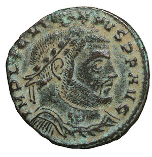 obverse: Licinius I. A.D. 308-324. AE follis. 4.10 gr. – 23.0 mm. Siscia mint, struck A.D. 315/16. O:\ IMP LIC LICINIVS P F AVG, laureate head of Licinius I right, one wreath tie wraps around back of neck. R:\ IOVI CONSERVATORI, naked Jupiter standing facing, head left, holding Victory on glvoe and resting on scepter; eagle at feet; Є // ·SIS·. RIC 17. XF