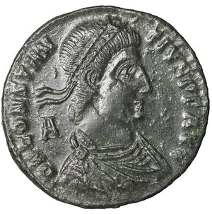 obverse: Constantius II. 337-361 AD. Maiorina. 4.28 gr. – 23.3 mm. O:\ DN CONSTANTIVS PF AVG, pearl diademed, draped, cuirassed bust right. R:\ FEL TEMP REPARATIO, Emperor holding labarum and phoenix, standing on galley piloted by Victory; SIS in ex. RIC 255. XF\UNC